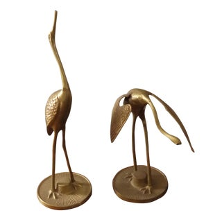 Brass Crane Figures - A Pair