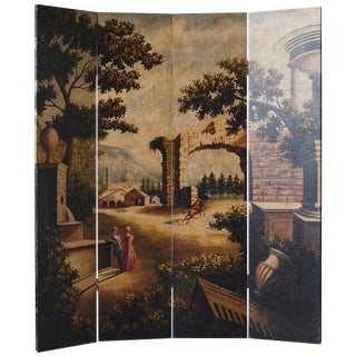 Four Panel Hand-Painted Screen Featuring a Landscape With Architectural Motifs For Sale