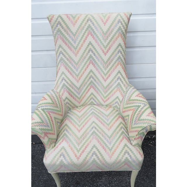 1990s Vintage Painted Tall Pair of Living BedRoom Fireplace Side Chairs For Sale - Image 5 of 13