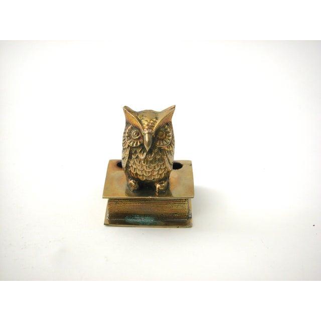 Vintage Brass Owl Pen Holder - Image 2 of 8