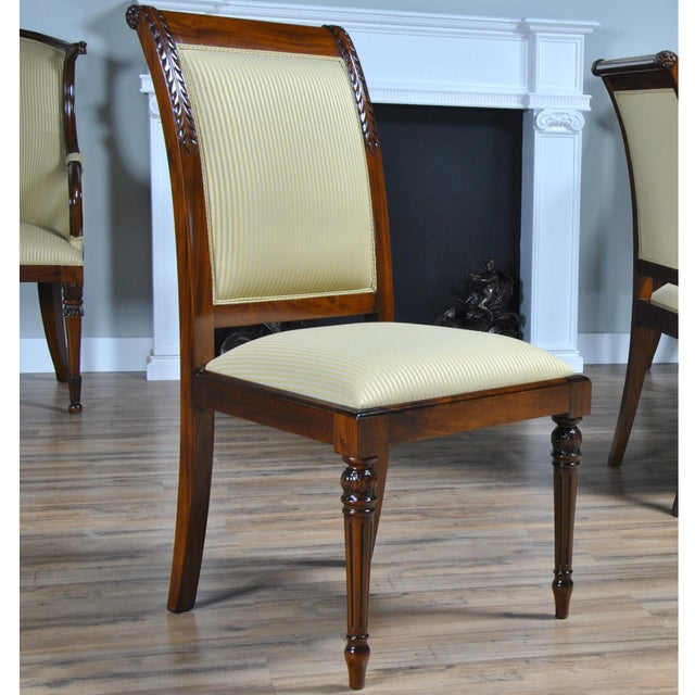 Our Empire Upholstered Side Chair features a fully upholstered back which gives this chair a great quality designer look...