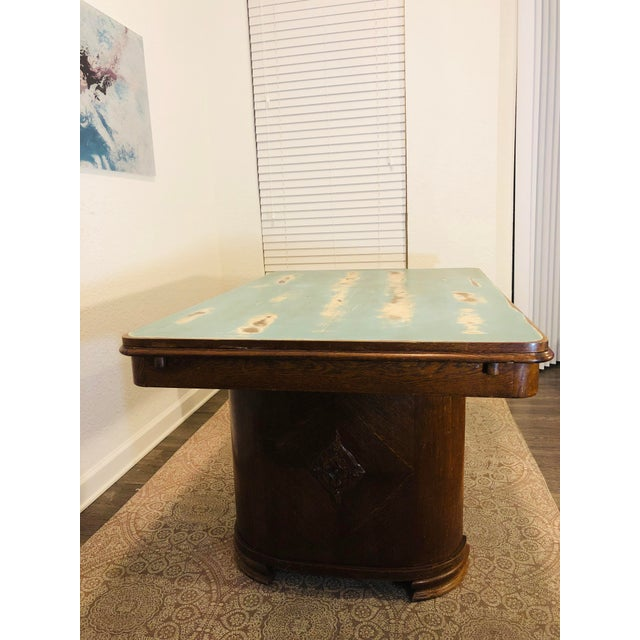 Art Deco 1920s Traditional Solid Oak Captain's Dining/Center Table with Patina For Sale - Image 3 of 12