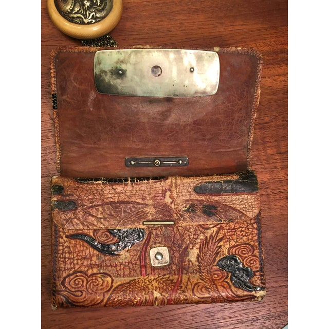 Late 19th Century Elaborate Meiji Period Embossed Leather and Silver Tobacco Pouch For Sale - Image 10 of 13