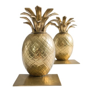 1960s Hollywood Regency Brass Pineapple Bookends - a Pair