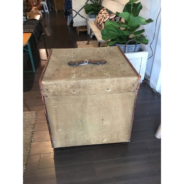20th Century Rustic Leather and Canvas Trunk For Sale - Image 4 of 13