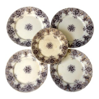 1900s Wood and Son Keswick Purple Plate Collection - 4 Pieces