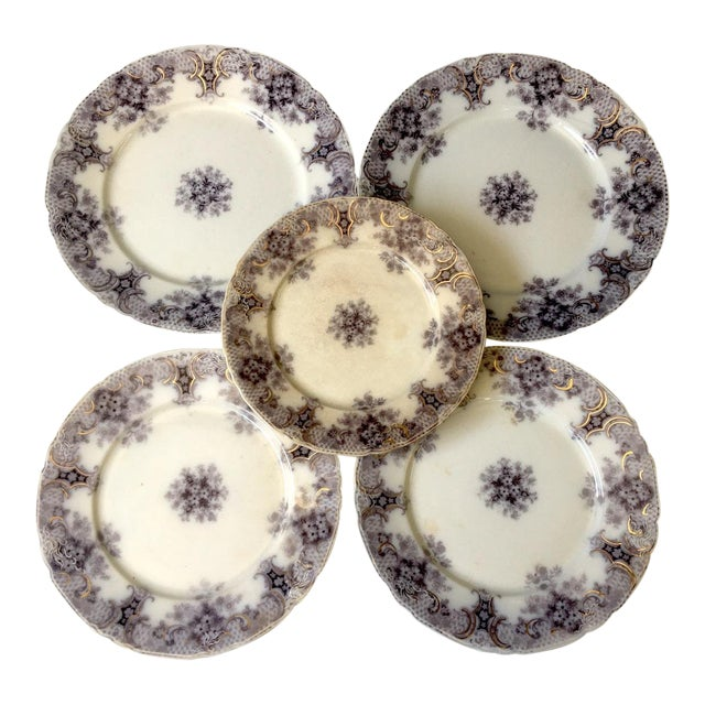 1900s Wood and Son Keswick Purple Plate Collection - 4 Pieces For Sale