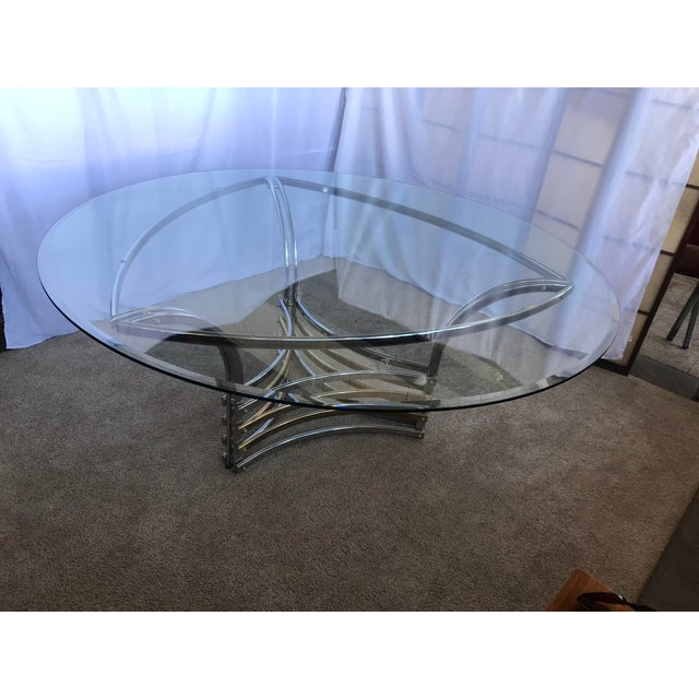 1980s Round Glass & Chrome/Brass Triangular Shape Dining Table For Sale - Image 10 of 13