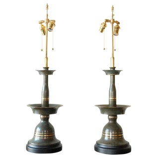 Bronze & Brass Candlestick Style Table Lamps - a Pair