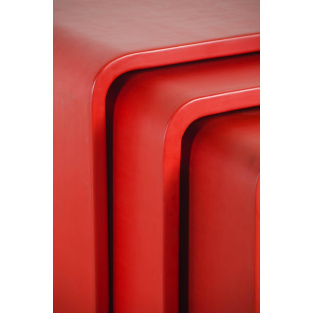 Contemporary Waterfall Nesting Tables - Red Lacquer by Robert Kuo, Hand Made, Limited Edition For Sale - Image 3 of 6