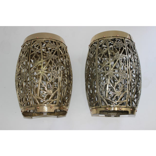 Garden Stools Bamboo Crane Bird Cherry Blossom Motif in Polished Brass Fretwork - a Pair - from a Palm Beach estate These...