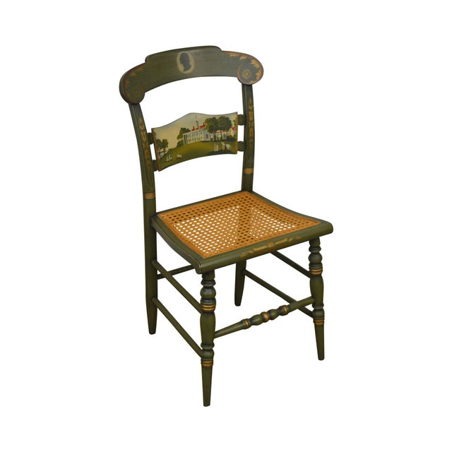 Hitchcock Green Painted George Washington Mt Vernon Cane Seat Side Chair For Sale - Image 13 of 13