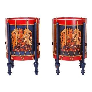 Faux Drum Tables - A Pair For Sale