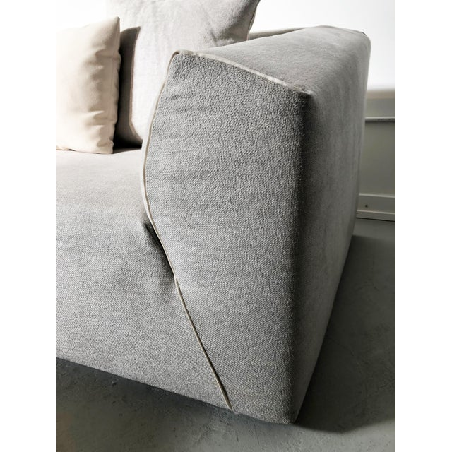 2010s Modern Modular Sofa and Ottoman Light Grey and White Piping by Mdf Italia For Sale - Image 5 of 12