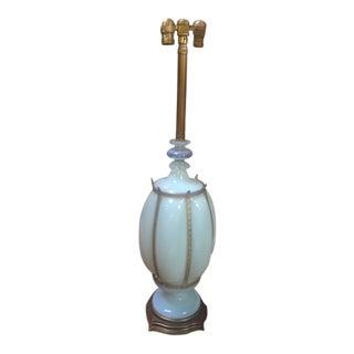 Vintage Murano Opaline Metal Trim Table Lamp For Sale