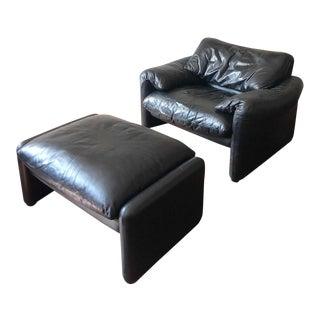 1960s Vintage Vico Magistretti for Cassina Black Leather Maralunga Chair & Ottoman For Sale