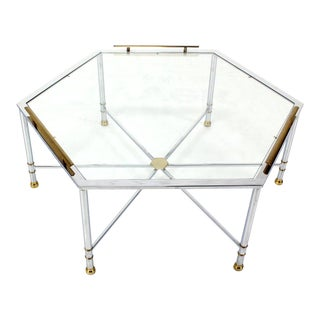 Maison Jansen Style Chrome Brass & Glass Hexagon Coffee Table For Sale