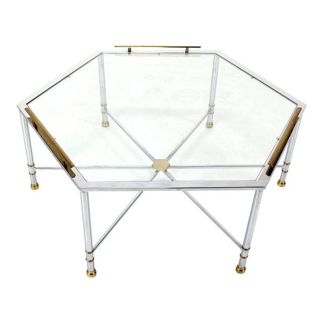 Maison Jansen Style Chrome Brass & Glass Hexagon Coffee Table For Sale