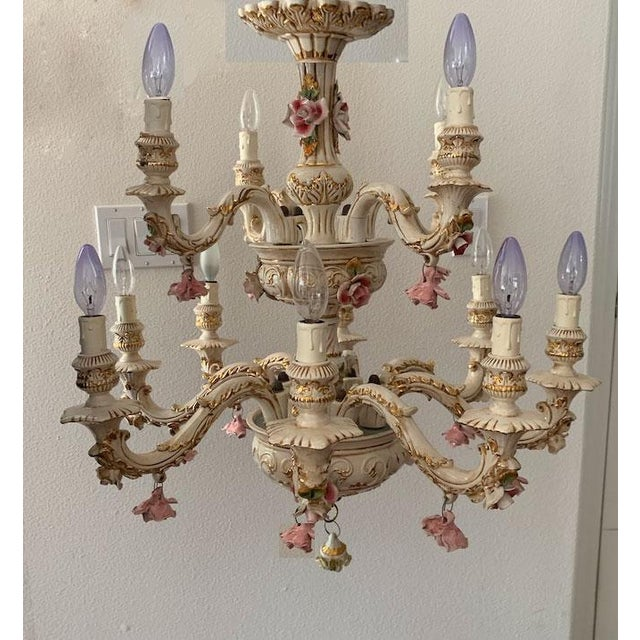 Shabby Chic Capodimonte Italian 12 Arm Porcelain Chandelier For Sale - Image 3 of 11