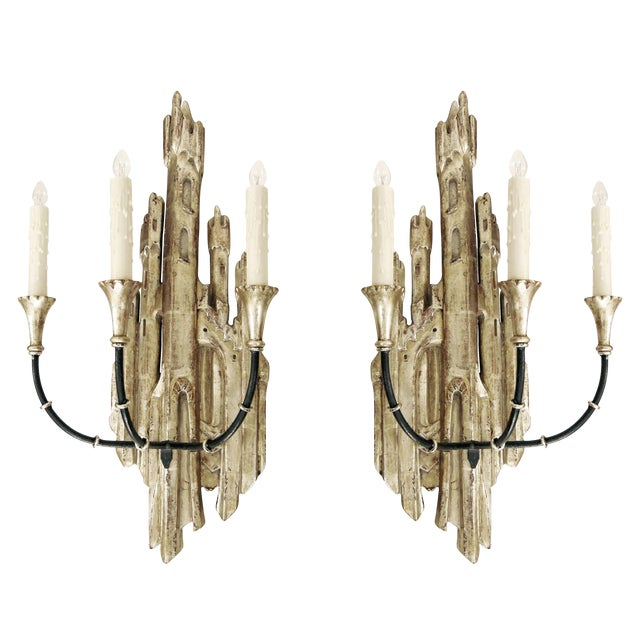 Contemporary Randy Esada Designs for PROSPR White Gold Carved Italian Three Arm Castle Sconces - a Pair For Sale