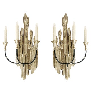 White Gold Carved Italian Three Arm Castle Sconces by Randy Esada Designs for PROSPR