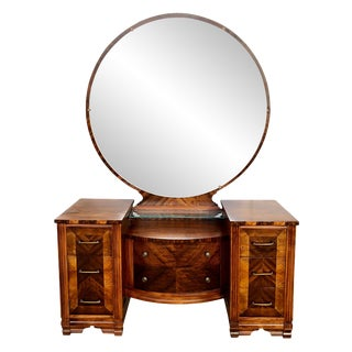 1930s Antique Art Deco Burl Walnut Vanity With Circle Mirror For Sale