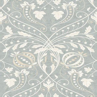 "Lewis & Wood Chateau Sea Spray Extra Wide 52"" Damask Wallpaper Sample For Sale"