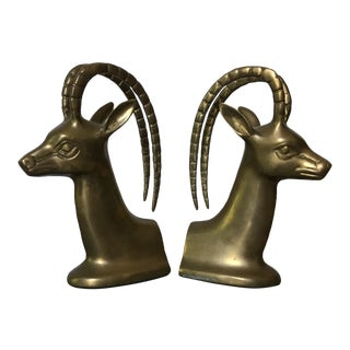 Vintage Brass Gazelle Bookends -A Pair For Sale