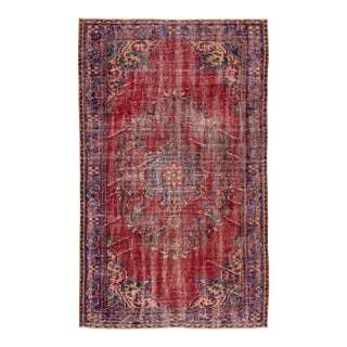 1960s Red Vintage Turkish Area Rug - 5'5''x8'5'' For Sale