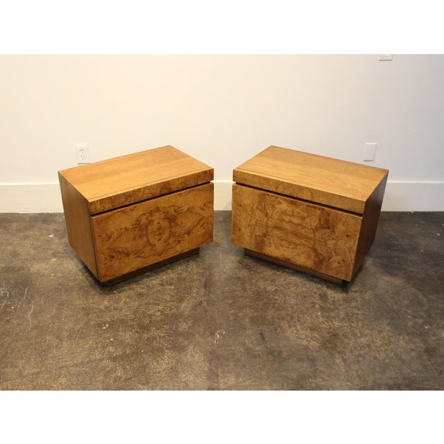 "Beautiful pair of 1970's burl-wood nightstands. Originally designed by Roland Carter for Lane Furniture, this ""Alpha""..."