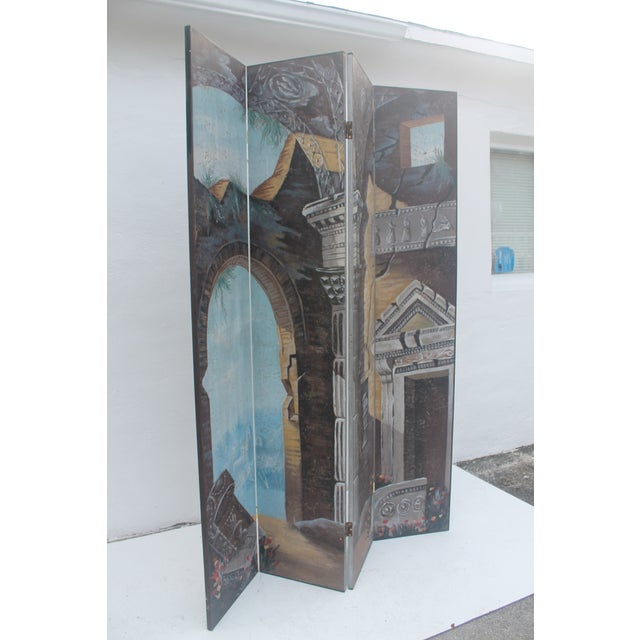 Painted 4-Panel Screen - Image 8 of 11