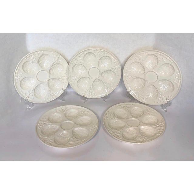 White Vintage Cream Embossed Czechoslovakia Oyster Plates - Set of 5 For Sale - Image 8 of 8