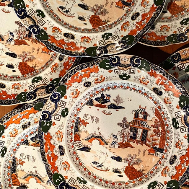 Mason's Ironstone Antique Mason's Ironstone Chinoiserie Luncheon or Dinner Plates — Set of 6 For Sale - Image 4 of 11