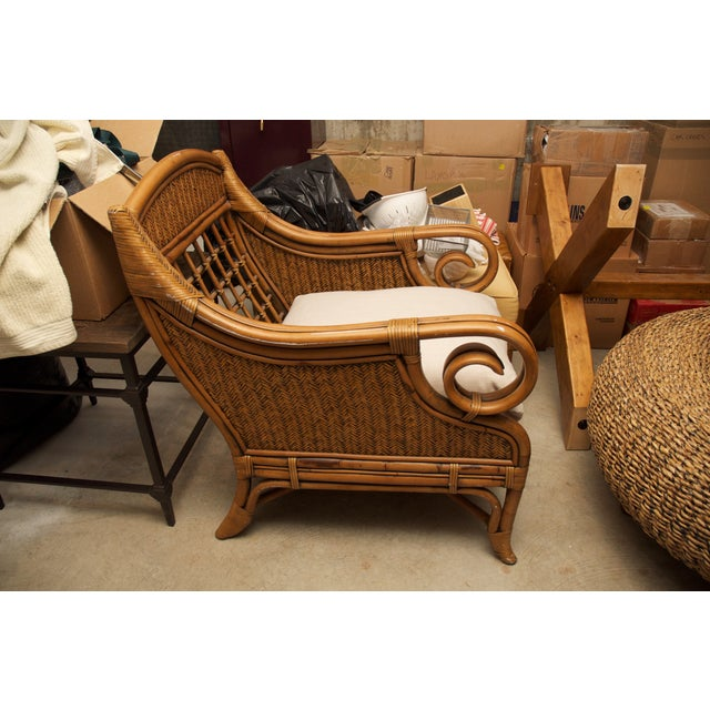 Rattan Wicker Chair & Ottoman W/ Upholstered Seat - Image 6 of 9
