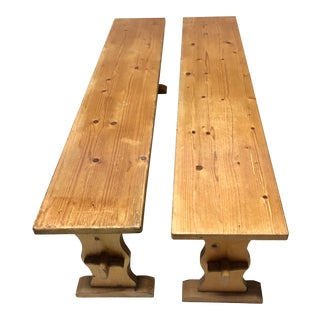 Vintage European Pine Benches- A Pair For Sale
