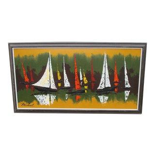 Modernist Coastal Mid-Century Modern Painting