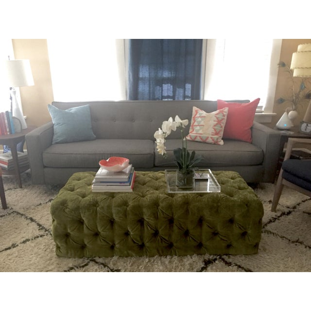 Green Tufted Velvet Ottoman/Coffee Table - Image 3 of 7