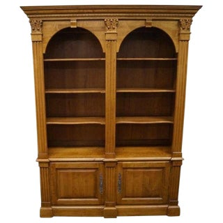 1990s Traditional Ethan Allen Double Arched Bookcase For Sale