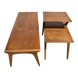 1950s Mid-Century Modern John Van Koert for Drexel Profile Walnut Cocktail and Side Table Set - 3 Pieces For Sale