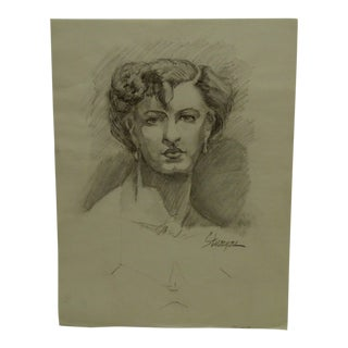 """1950 Mid-Century Modern Original Drawing on Paper, """"Beauty With Earrings"""" by Tom Sturges Jr. For Sale"""