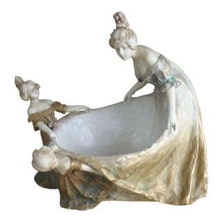 Antique Large Porcelain Turn Teplitz Bohemian Centerpiece Bowl For Sale