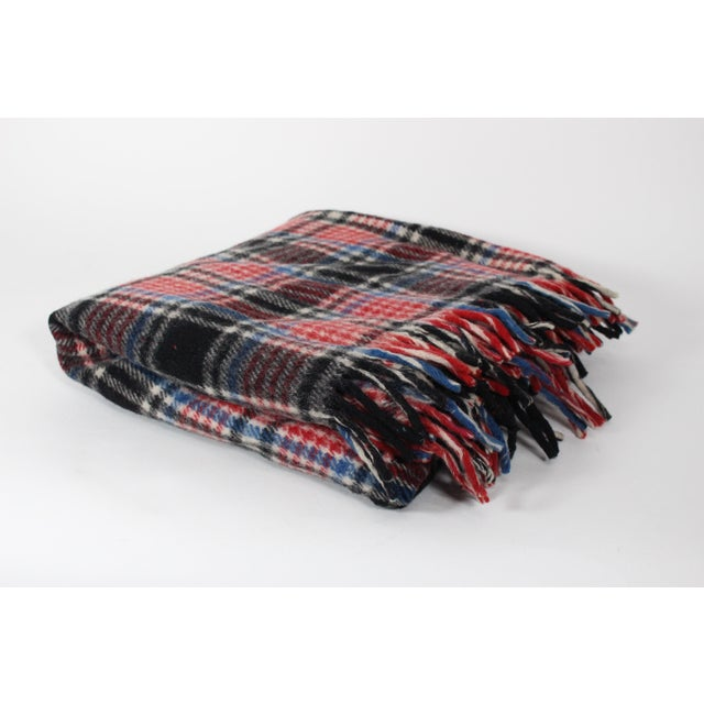 1970s Vintage Fringed Plaid Wool Camp Blanket For Sale In Los Angeles - Image 6 of 6
