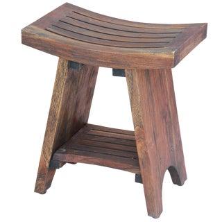 Rustic Indonesian Teak Wood Stool For Sale