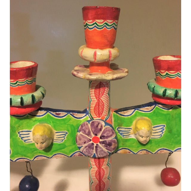 Vintage Mexican Pottery Folk Art Candle Holders Trees of Life - a Pair For Sale - Image 4 of 9