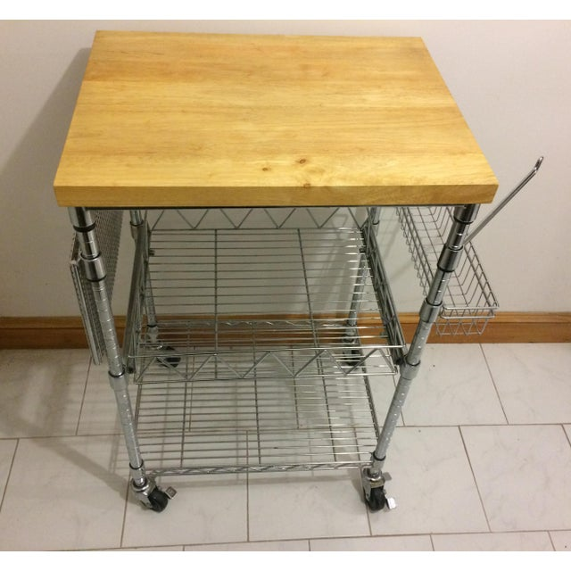 Contemporary Kitchen Cart With Wood Butcher Block Top For Sale - Image 3 of 13