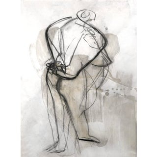 Contemporary Figurative Abstract Nude Encaustic Wax & Charcoal Drawing For Sale