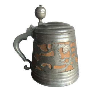 Antique German Pewter and Wood Tankard For Sale