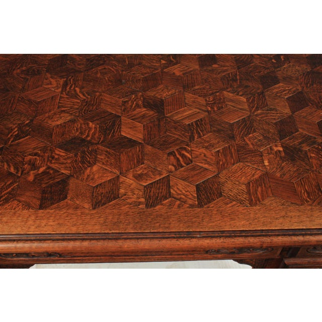 1930s 1930s French Louis XV-Style Parquet Top Writing Desk For Sale - Image 5 of 9