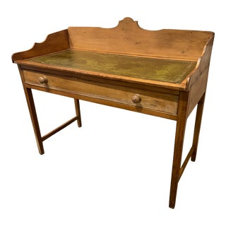Antique Pine Writing Desk With Leather Top For Sale