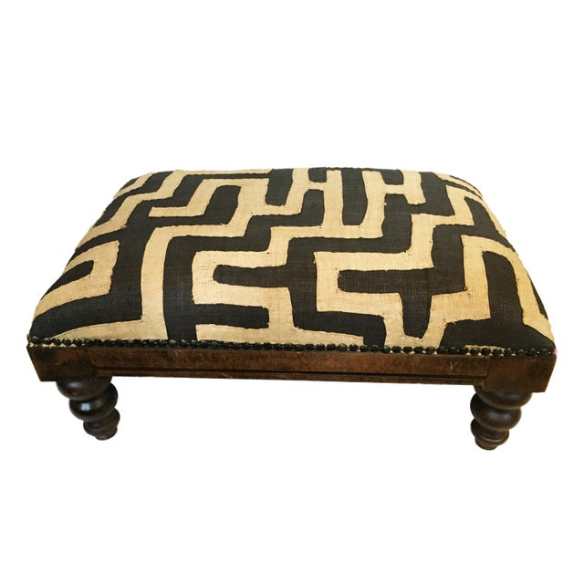 African Kuba Applique Textile Low Stool For Sale - Image 9 of 9